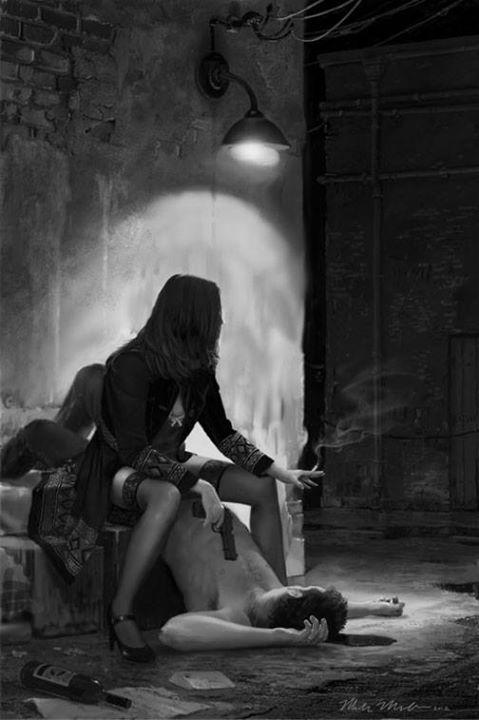 noir pulp fiction artwork Mark Molchan