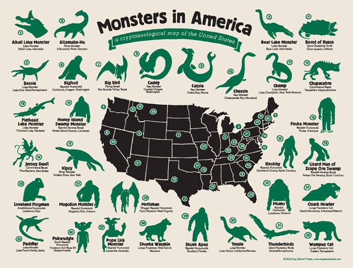 Monsters in America map of cryptozoological animas in the United States of America USA bigfoot chupacabra yeti abominable snowman