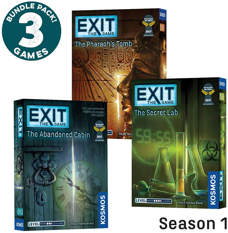 LockQuest Exit: The Game Season 1 bundle escape the room board game in a box covers