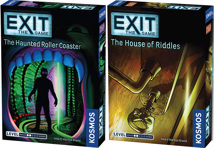 LockQuest Exit: The Game 2-game Bundle The Haunted Roller Coaster and the House of Riddles escape the room board game in a box cover images