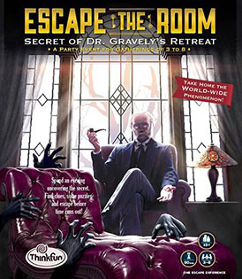 LockQuest Escape the Room: Secret of Dr. Gravely's Retreat board game in a box cover image
